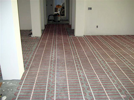 A heated floor installation.