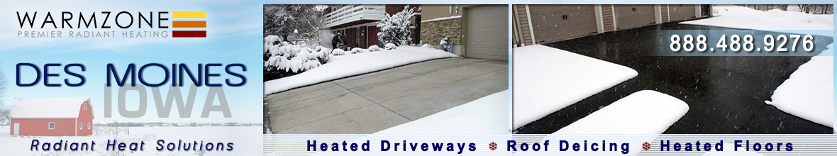 Des Moines radiant heated driveways, roof deicing and floor heating banner